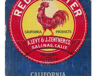 ORIGINAL VINTAGE CRATE LABEL LITTLE RED ROOSTER HEN CALIFORNIA 1960S LEVY