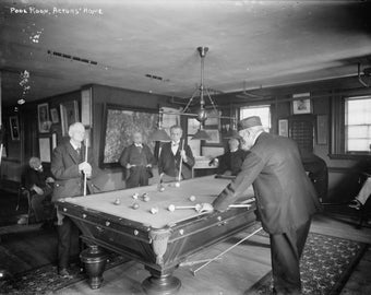 Group Of Gentlemen Playing Pool At Billiards Hall   Vintage Photograph (Art  Print   Multiple Sizes Available)