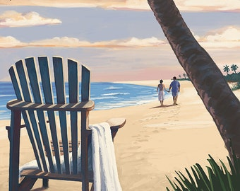 Oceanside, California   Adirondack Chair On The Beach (Art Prints Available  In Multiple Sizes)