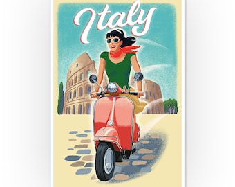 A1 SIZE PRINT FOR YOUR FRAME ELEPHANT ON A BIKE VESPA SCOOTER ART Painting