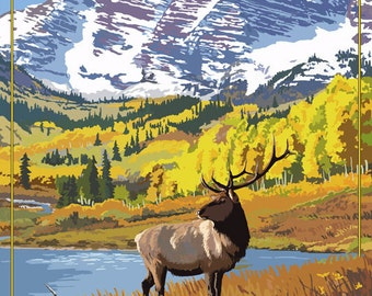 Estes Park, Colorado - Mountains and Elk (Art Prints available in multiple sizes)