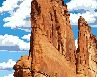 Arches National Park, Utah - Courthouse Towers - Lantern Press Artwork (Art Print - Multiple Sizes Available)