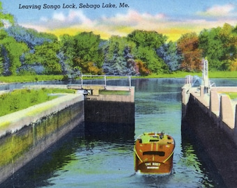 Sebago Lake, Maine - View of a Motorboat Leaving Songo Lock - Vintage Halftone (Art Print - Multiple Sizes Available)