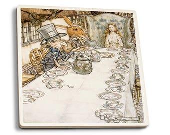 Alice in Wonderland Tea Party Rackhaw 1907 (Set of 4 Ceramic Coasters)