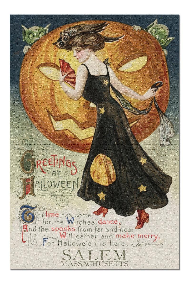 Halloween Witch Dance - Vintage Artwork (19x26 Premium 1000 Piece Jigsaw Puzzle)