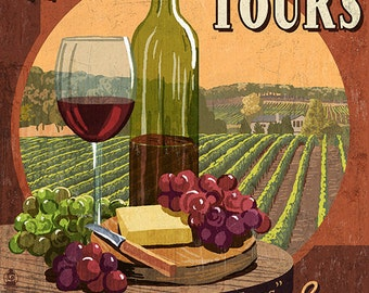 Woodinville, Washington - Wine Tasting Vintage Sign (Art Prints available in multiple sizes)
