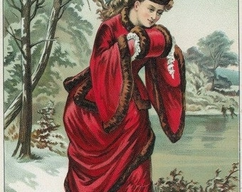 Lady in Red Tobacco Label (Art Prints available in multiple sizes)