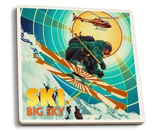Big Sky, MT - Heli-Skiing - LP Artwork (Set of 4 Ceramic Coasters)