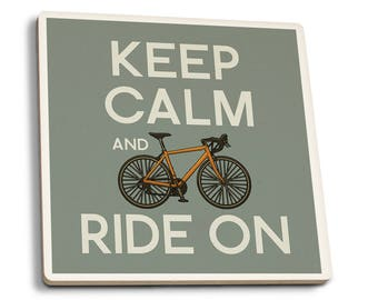 Keep Calm and Ride On - LP Artwork (Set of 4 Ceramic Coasters)