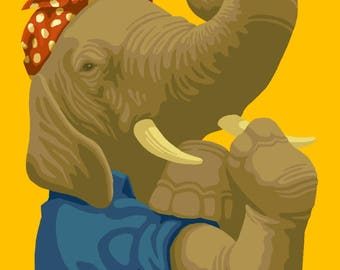 Rosie the Elephant - Republican - Political - Lantern Press Artwork (Art Print - Multiple Sizes Available)