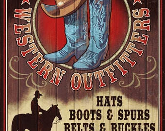 Hat and Boot Outfitters - Vintage Sign (Art Prints available in multiple sizes)