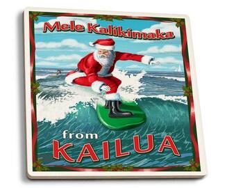Kailua, Hawaii - Mele Kalikimaka - LP Artwork (Set of 4 Ceramic Coasters)