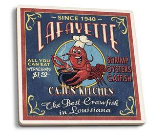 Lafayette LA Cajun Kitchen Vintage Sign LP Artwork (Set of 4 Ceramic Coasters)