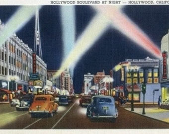 Hollywood, California - Hollywood Boulevard at Night (Art Prints available in multiple sizes)