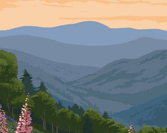 Adirondack Mountains, New York - Bears and Spring Flowers (Art Prints available in multiple sizes)