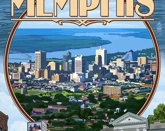 Memphis, Tennessee - Memphis Montage (Art Prints available in multiple sizes)