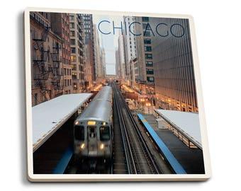 Chicago, IL - L Train - LP Photography (Set of 4 Ceramic Coasters)