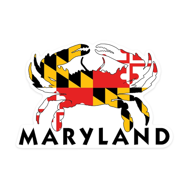 Maryland  Crab Flag  Contour 100335 Vinyl Die-cut Sticker image 0