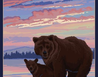Katmai, Alaska - Bear and Cub - Lantern Press Artwork (Art Print - Multiple Sizes Available)