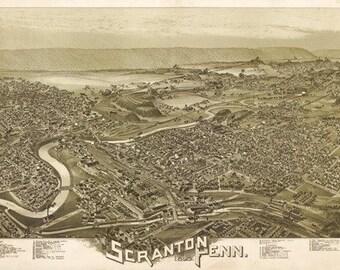 Scranton, Pennsylvania - Panoramic Map (Art Prints available in multiple sizes)