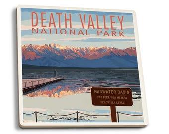 Death Valley CA - Badwater - LP Artwork (Set of 4 Ceramic Coasters)