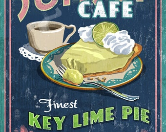 Key Lime Pie - Vintage Sign (Art Prints available in multiple sizes)
