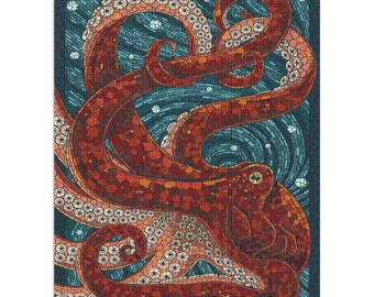 Puzzle, Octopus, Paper Mosaic, Lantern Press Artwork, 1000 Pieces, Unique Jigsaw, Family, Adults
