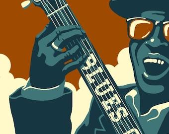 Memphis, Tennessee - Blues City - Lantern Press Artwork (Art Print - Multiple Sizes Available)