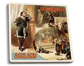 Ashland OR Shakespeare Hamlet - Vintage Ad (Set of 4 Ceramic Coasters)