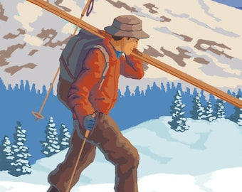 The Adirondacks, New York State - Skier Carrying Skis - Lantern Press Artwork (Art Print - Multiple Sizes Available)