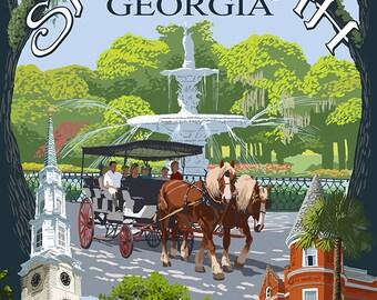 Savannah, Georgia Town Views (Art Prints available in multiple sizes)