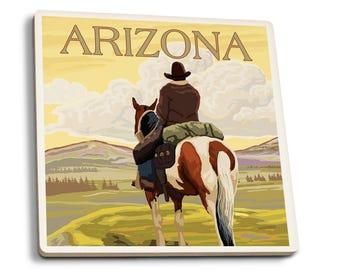 AZ - Cowboy (View from Back) - LP Artwork (Set of 4 Ceramic Coasters)