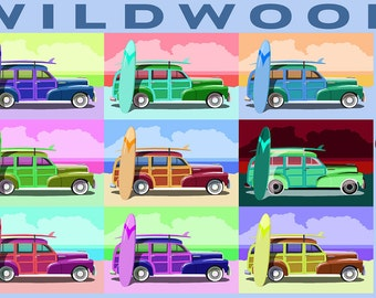 Wildwood, New Jersey - Woody Pop Art (Art Prints available in multiple sizes)