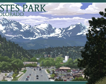 Estes Park, Colorado - Town Scene (Art Prints available in multiple sizes)