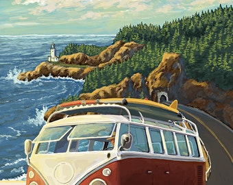Palos Verdes, California - VW Van (Art Prints available in multiple sizes)