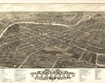 Youngstown, Ohio - (1882) - Panoramic Map (Art Print - Multiple Sizes Available)