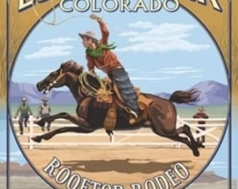 Rooftop Rodeo - Estes Park, Colorado (Art Prints available in multiple sizes)