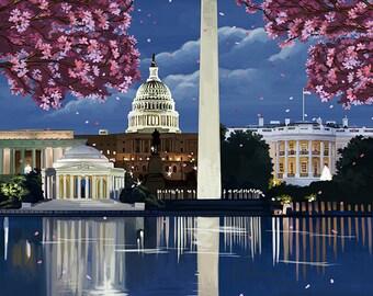 Washington, DC - Night Scene (Art Prints available in multiple sizes)