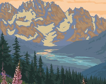 Kenai River, Alaska - Bear Family and Flowers (Art Prints available in multiple sizes)