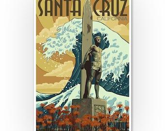 Prints, Signs, Santa Cruz, California, Surfer Statue, Lantern Press Artwork, Unique Metal Art, Posters, Hang Ready