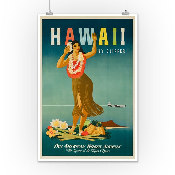 Hawaii Hula Skirt Pan American Airlines Vintage Art Travel Poster Print Giclee