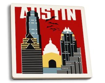 Austin, TX - Woodblock - LP Artwork (Set of 4 Ceramic Coasters)