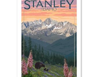 Prints, Signs, Stanley, Idaho, Bear & Spring Flowers, Lantern Press Artwork, Unique Metal Art, Posters, Hang Ready