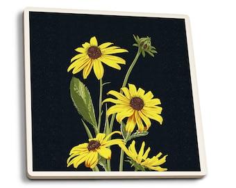 Black Eyed Susan - Letterpress - LP Artwork (Set of 4 Ceramic Coasters)