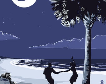 South Carolina - Palmetto Moon with Beach Dancers (Art Prints available in multiple sizes)