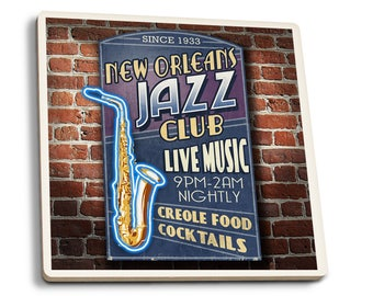 New Orleans, LA - Jazz Club - LP Artwork (Set of 4 Ceramic Coasters)