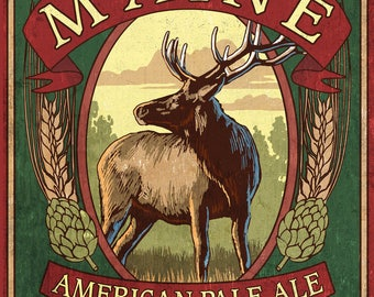 Maine - White Tailed Deer Ale Vintage Sign - Lantern Press Artwork (Art Print - Multiple Sizes Available)