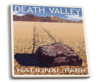 Death Valley Park, CA - Moving Rocks - LP Artwork (Set of 4 Ceramic Coasters)