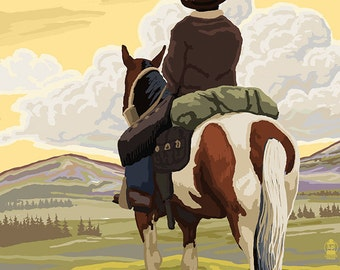 Eastern Oregon - Cowboy and Horse (Art Prints available in multiple sizes)