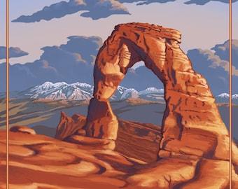 Arches National Park, Utah - Delicate Arch - Lantern Press Artwork (Art Print - Multiple Sizes Available)
